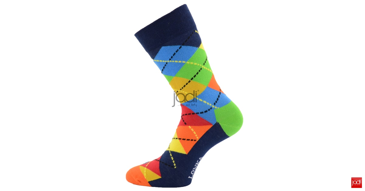 6a3f95c617f Lonka kárované ponožky Woodoo · Lonka luxusní barevné kárované ponožky