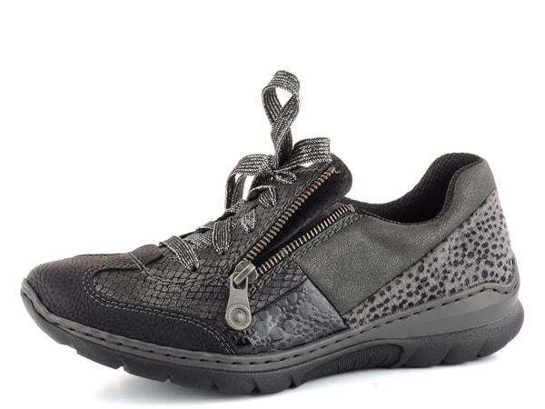 Rieker sneakers polobotky černé metalické L3223-00  b4ab2cc52f