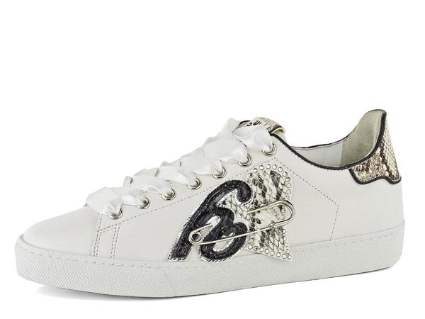 Högl bílé sneakers s ozdobou a hadinkou 7-100320 Trendové dámské sneakers  polobotky v odražené bílé barvě 7cf164ef57