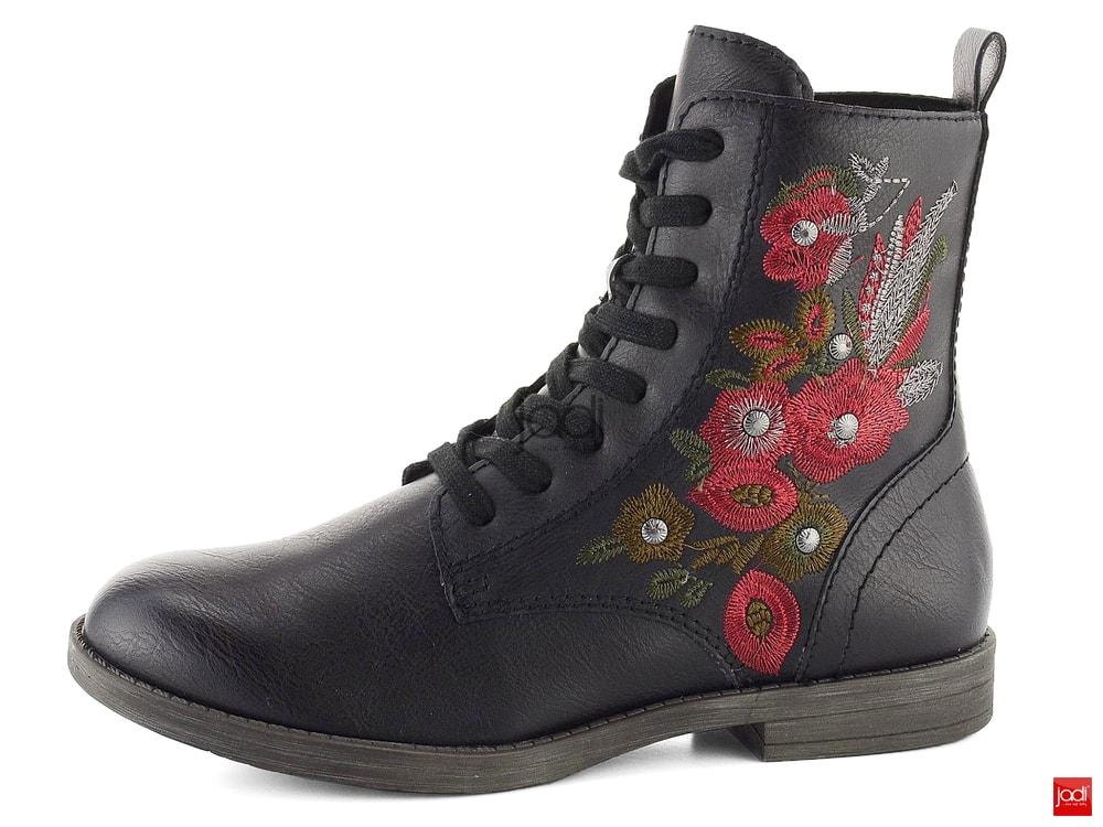 6f992d454abac Tamaris vyšívané členkové topánky čierne 1-25114-21 - Tamaris ...
